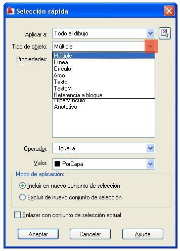 selecr AutoCAD filtros