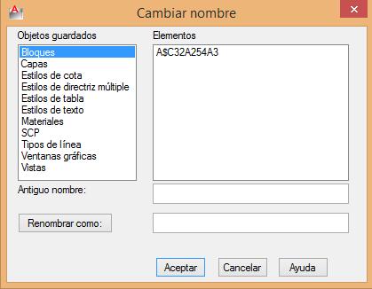 Cambiar nombre de bloque en AutoCAD