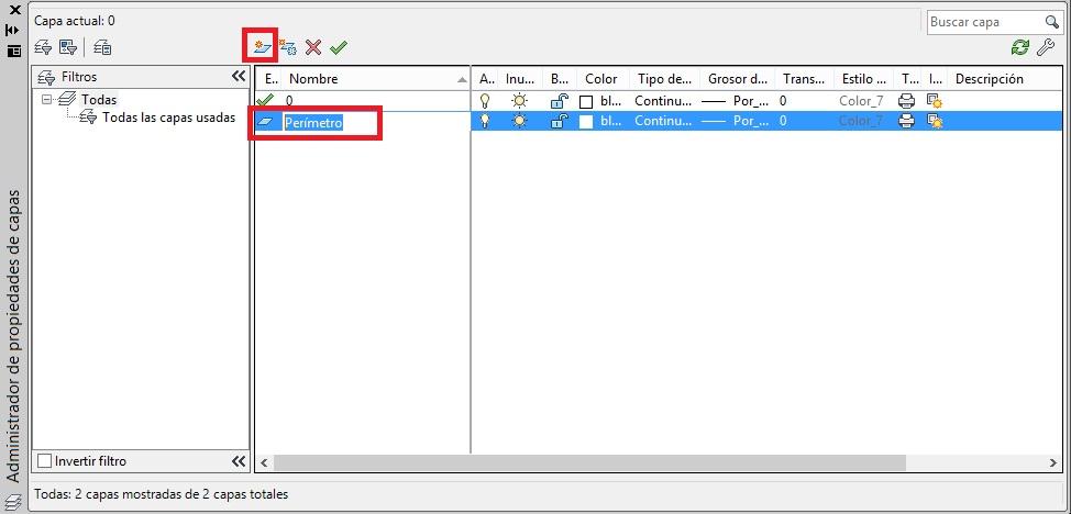 Como crear una capa en AutoCAD cuadro de dialogo propiedades de capa nueva capa