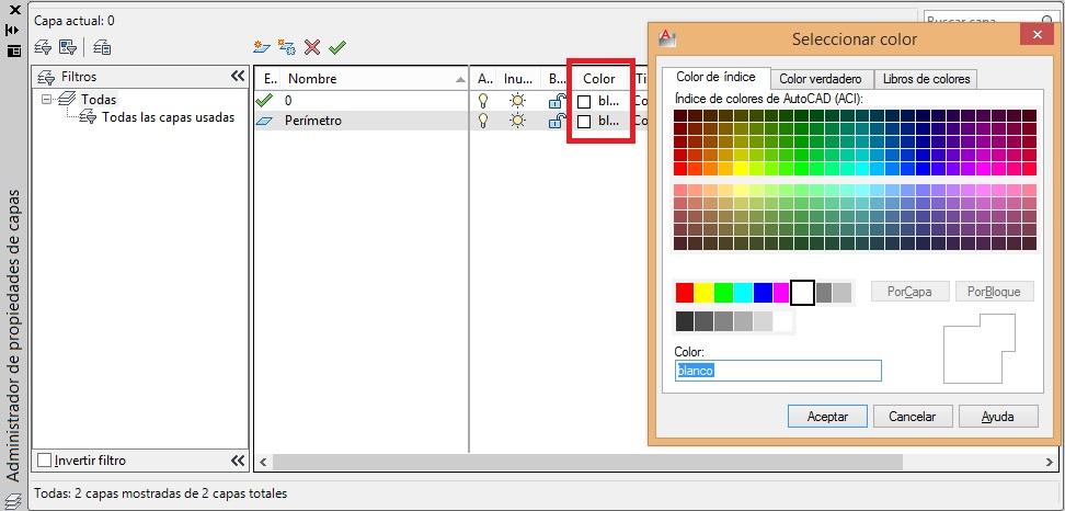 Como crear una capa en AutoCAD cuadro de dialogo propiedades de capa nueva capa cambiar color