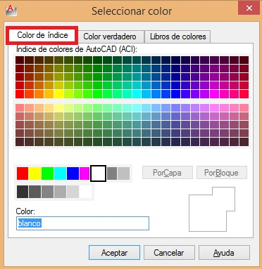 256 colores en AutoCAD