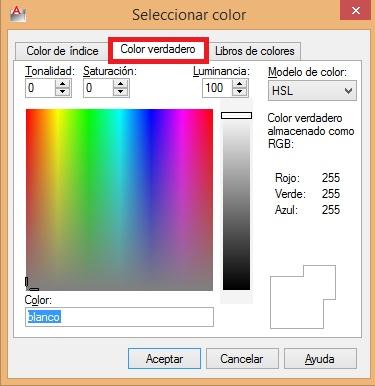 Colores rgb en autocad