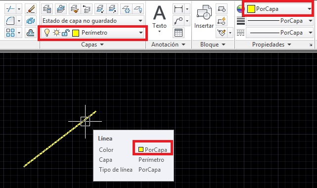 AutoCAD cambiar color de objeto