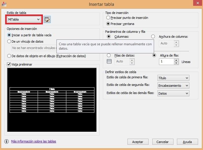 Crear tabla en AutoCAD