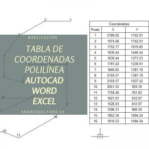 Tabla coordenadas AutoCAD