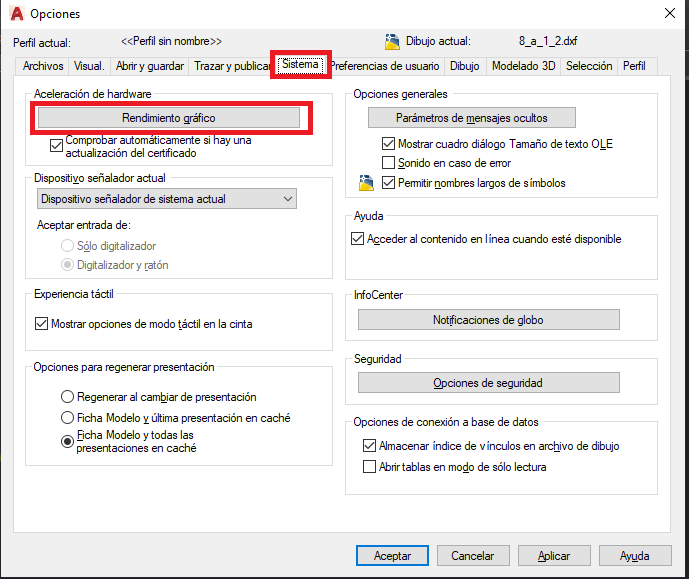 Configurar tarjeta gráfica en AutoCAD